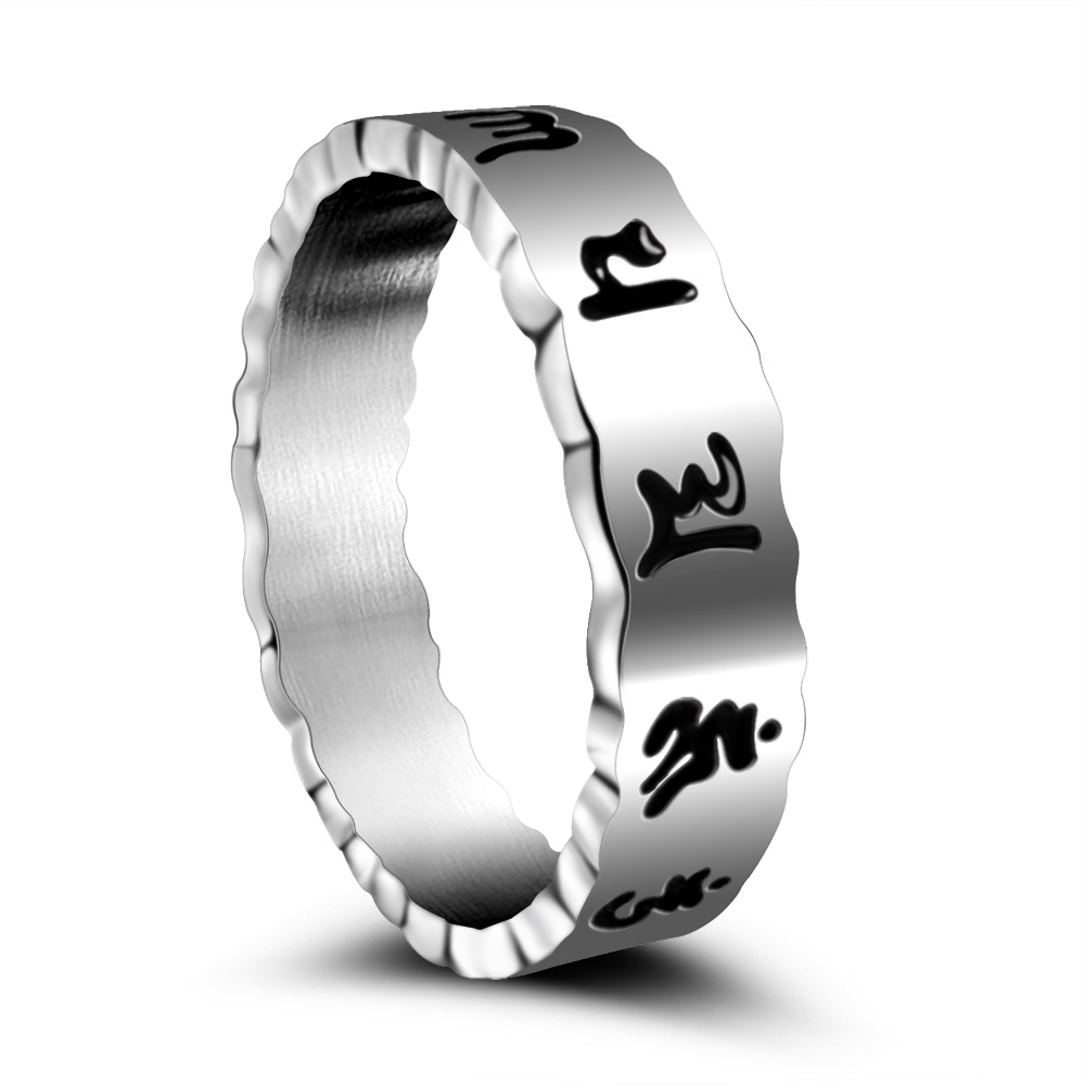"2016 New Fashion Retro Jewelry 316L Stainless Steel Silver Plated Men Ring ""Om Mani Padme Hum"" Sanskrit Buddhist Mantra Ring(China (Mainland))"