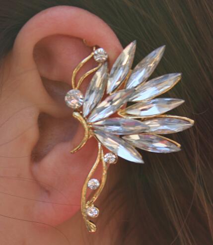 Hot Sale! Crystal Earrings Shape Romantic 'Kiss' Left Ear Cuffs Wrapped Ear Bones Clip Earrings for women gold brincos 20pcs/lot(China (Mainland))