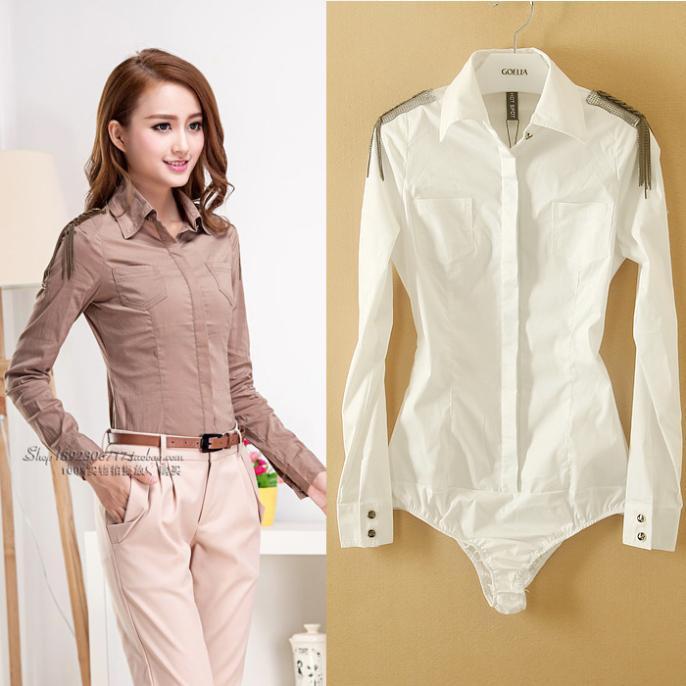 spring 2015 women blouses Fashion Women Elegant OL Long Sleeve slim white Shirt epaulette novelty body blouse S/M/L/XL WSH-032(China (Mainland))