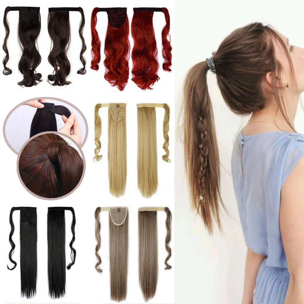 120g 17 inch 43 cm Long Curly Mix Beautifull Color Thick Pony Tail Magic Tape Ponytail Synthetic Hair Clip in on Hair Extensions(China (Mainland))