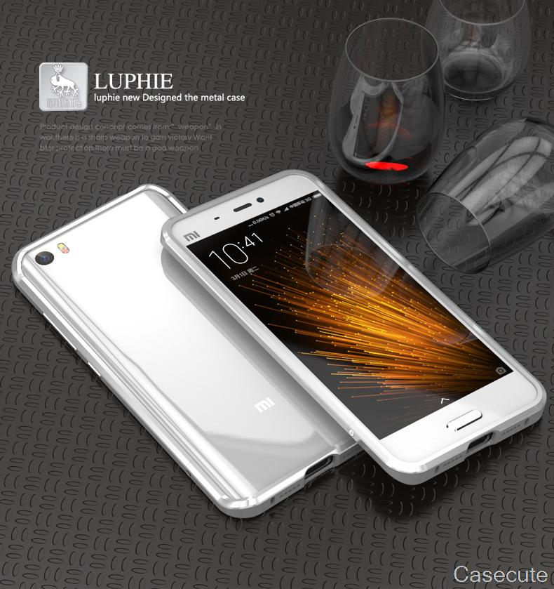 for Xiaomi Mi5 LUPHIE Case Luxury Fashion Simply Aluminum Metal Frame Screw Ultra Slim Hard Protective Cover for Xiaomi Mi5 Pro(China (Mainland))