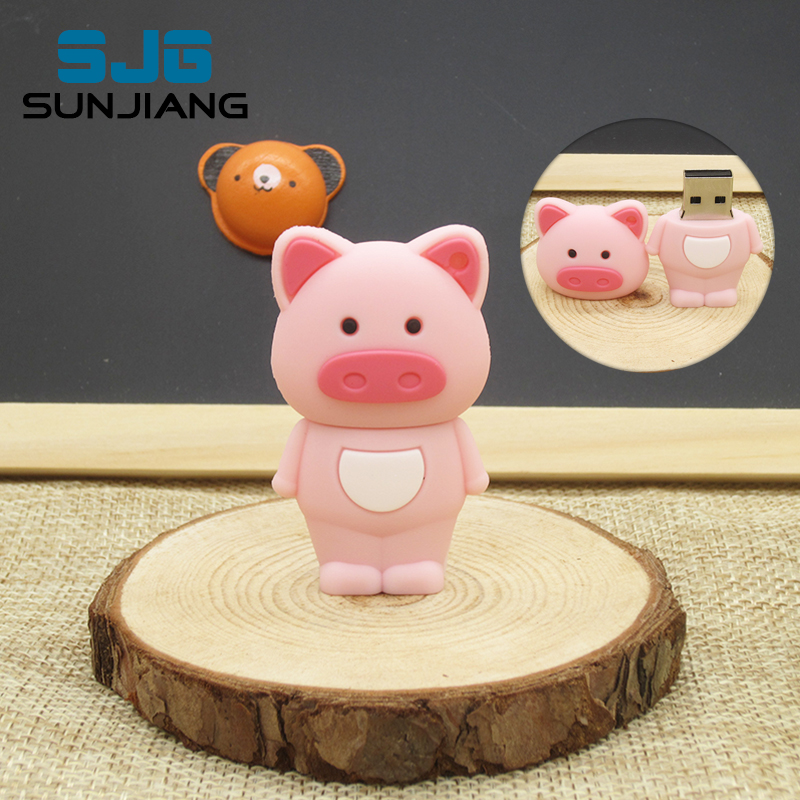 cartoon Cute Pink pig USB Flash Drive Pen drive usb stick usb 2.0 64G 8GB 16GB 32GB 4GB U disk high quality pendrive lovely gift(China (Mainland))
