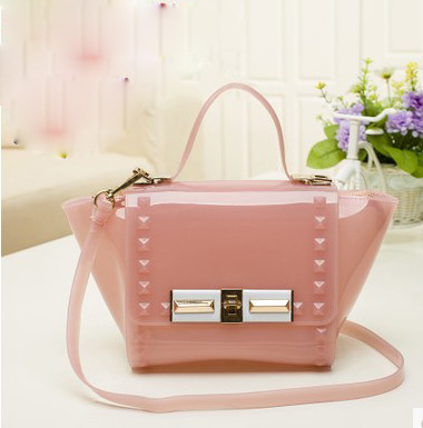 2014 women's fashion handbag candy color rivet bag jelly bag transparent beach bag one shoulder cross-body bag small(China (Mainland))