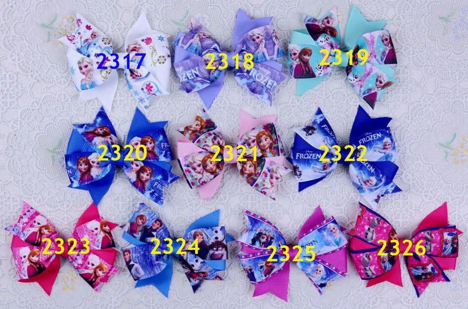 50pcs Vintage chevron design hair accessor swallow tail bows flower clip Snow Queen cartoon Elsa Anna princess headband HD3240(China (Mainland))