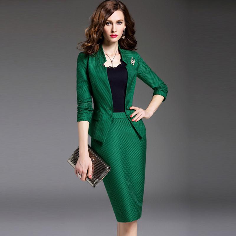 office uniform Style designs women 2017 Brand New Ladies Business Skirt Suit 2 Piece Set Women Blazer And Pencil Skirts