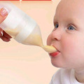 Silicone Baby Feeding Bottle With Spoon Food Supplement Rice Cereal Bottle Baby Squeeze Spoon Silica Gel
