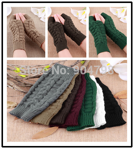 Fashion Unisex Men Women Knitted Fingerless Winter Gloves Soft Warm Mitten(China (Mainland))
