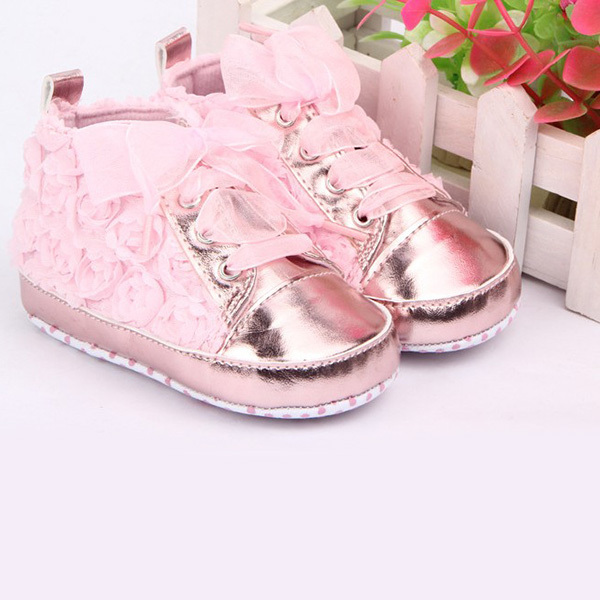 Bebe first walkerskids Toddler Shoes sapatos baby Lace-up Rose flower soft sole Girl shoes 3 colors Free Dropshipping
