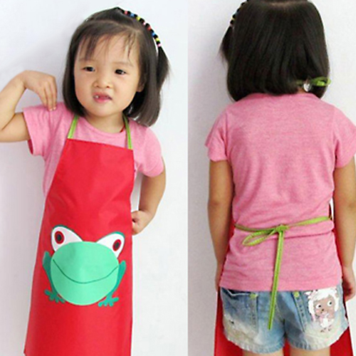 Best Selling Cute Kids Children Waterproof Aprons anti-stain Apron Cartoon Frog Printed Painting Retail/Wholesale(China (Mainland))