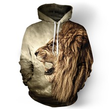 Adogirl New Fashion Galaxy Hoodie Sweatshirt For Men Women 3D Lion Print Cartoon Hooded Harajuku Sweatshirts