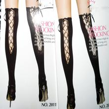 Popular Lace Long Knee Socks Vertical Stripe Thin Leg Woman Sock 6 Colors