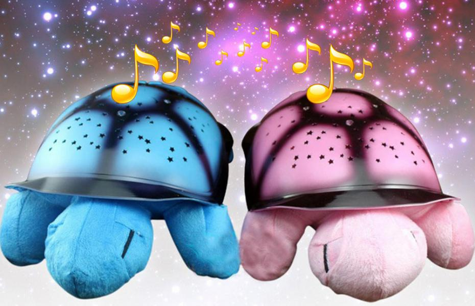 2016 New Novelty Turtle Night Light Music Projector Lamp Night Sky Constellations For Children's Lovely Gift--5 Colors(China (Mainland))