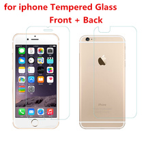 2Pcs Front + Back Tempered Glass For apple iPhone 7 4s 5 5s 6 6s plus Rear Screen Protector Anti Shatter Film Cleaning Kit 4.7 (China (Mainland))