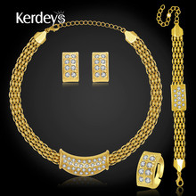 KERDEYS Jewelry Sets African Beads Bridal Gold Plated Crystal Fashion Necklace Earrings Ring Sets For Women Wedding Accessories(China (Mainland))