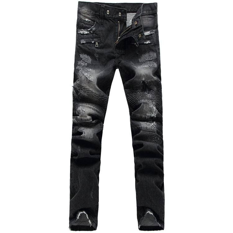 NWT BM famous brand scratched skinny jeans men ripped Hole jean Slim pantalones fashion leisure pants vaqueros - JACK ANTONG SHOP store