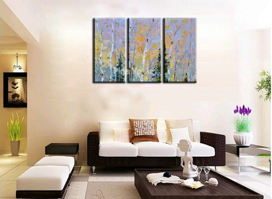 Buy 3 piece Knife paint landscape abstract modern  wall art handmade decorative living room wall painting oil on canvas for bedroom cheap