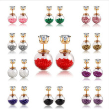 Glass Double Pearl Earrings For Women Gold Crystal Double Side Big Ball Beads Stud Earring Piercing Statement Rhinestone Jewelry(China (Mainland))