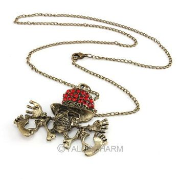 Fashion Punk Vintage Bronze Crystal Rhinestone Pendant Chain Necklace 60328