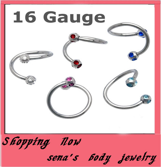 crystal nose ring   free shipping mix 10 colors 200pcs/lot body jewelry stainless steel color plated nose bar<br><br>Aliexpress