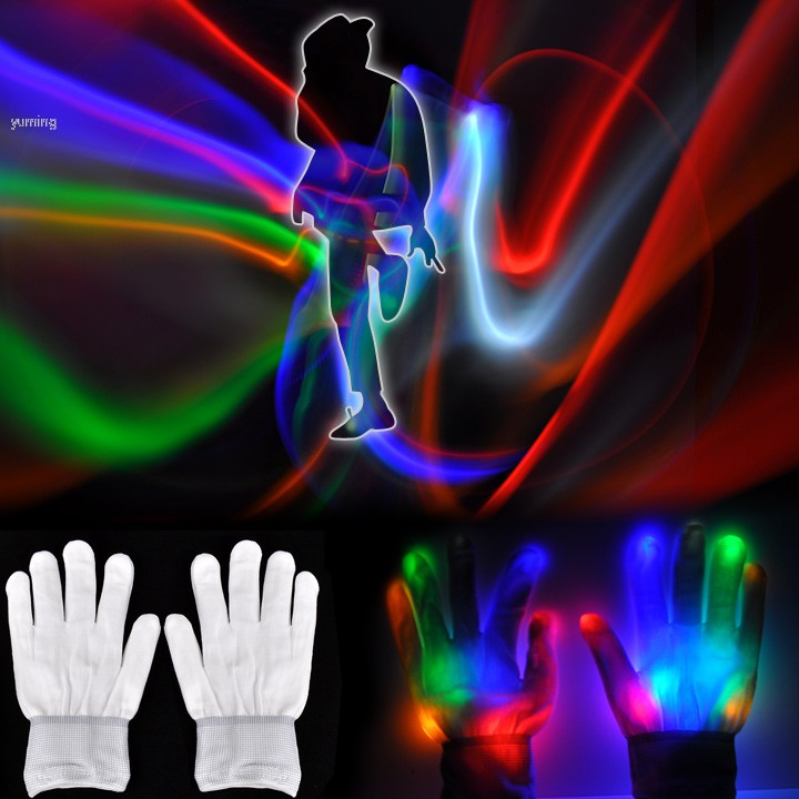 Multicolor Changing Optical Fiber LED Gloves LED Finger Light Gloves for Party Supplies Free Shipping Z(China (Mainland))