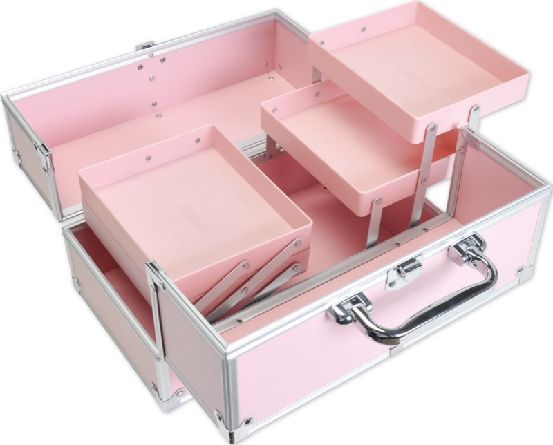 FB101P 30 x 17.5 x 18 cm Facebox Aluminum Cosmetic Case Beauty Box Makeup Case with Inner Two Layer Tray PINK(China (Mainland))