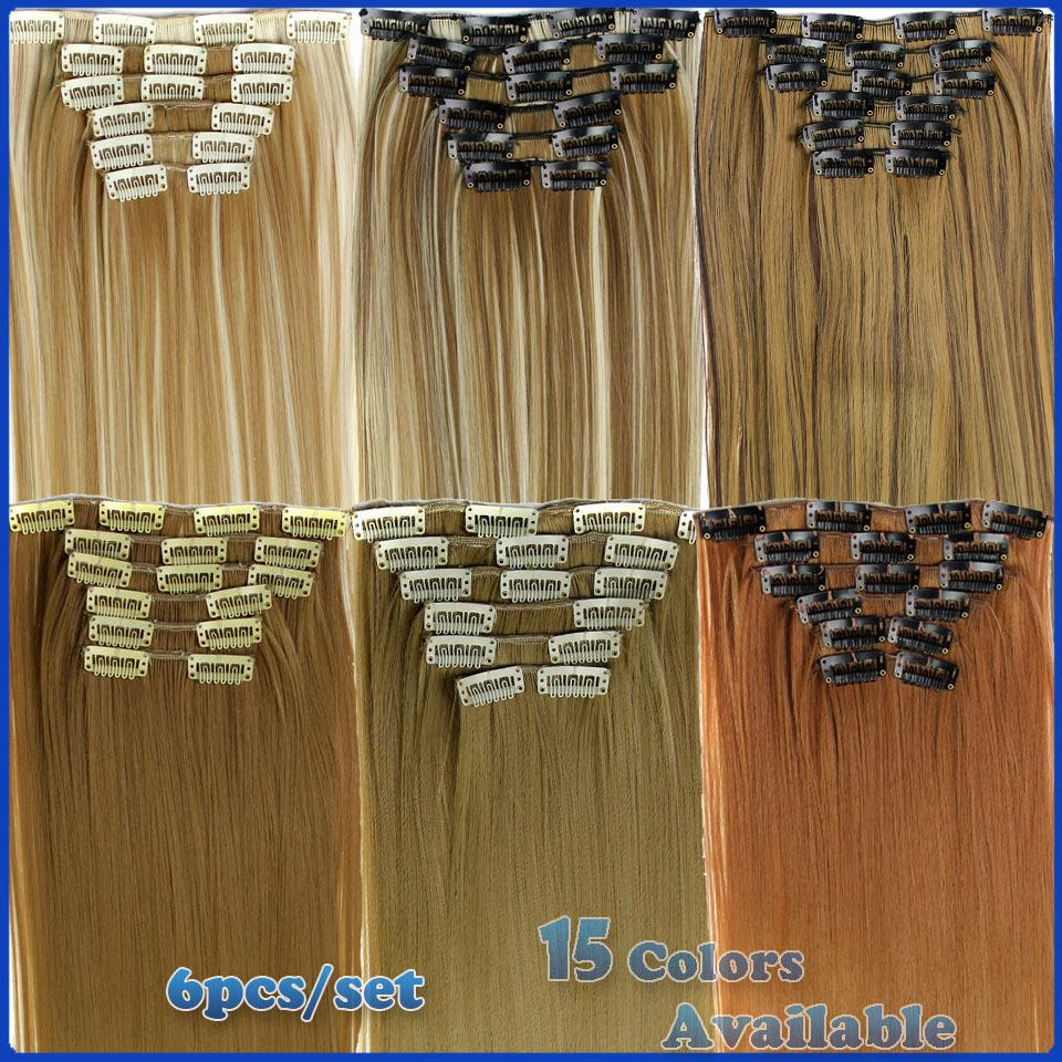 Гаджет  New Available Hairpiece 6pcs/set Synthetic 23inch 140g 16 Clips in Hair Extensions clip Straight Women Cheap Hair Pieces  None Волосы и аксессуары