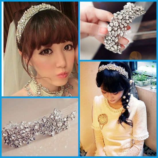 New Top quality Luxury Wedding jewelry bride hair accessories crystal mesh elastic Bridal hair tiara headband(China (Mainland))