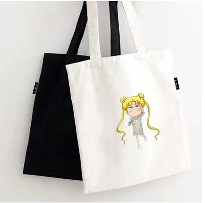5 pcs/lot black white Cartoon Sailor Moon Dance on the Moon Theme Background Cotton Canvas Tote Bag(China (Mainland))