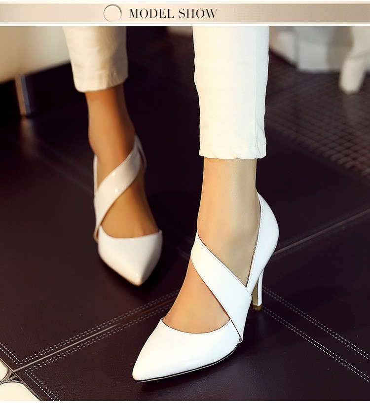 Fashion Genuine Leather Thin High Heels Women Pumps Sexy Pointed Toe Buckle Party Shoes New Arrival Women Shoes ZX2.5