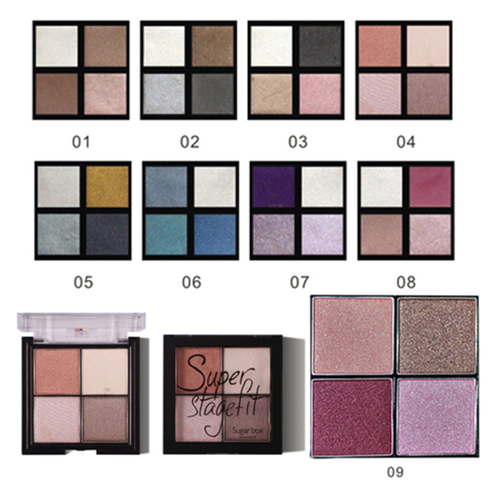 2016 Fashion Eyeshadow Makeup Palette Natural Shimmer Wine Red Eye Shadow 4 Colors(China (Mainland))