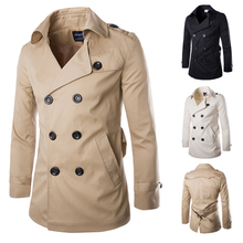 2015 New Arrival Men Trench Coat Slim Fit Solid Cotton Men's Double Breasted Trench Coat High Quality Men Coat Size M-XXL(China (Mainland))