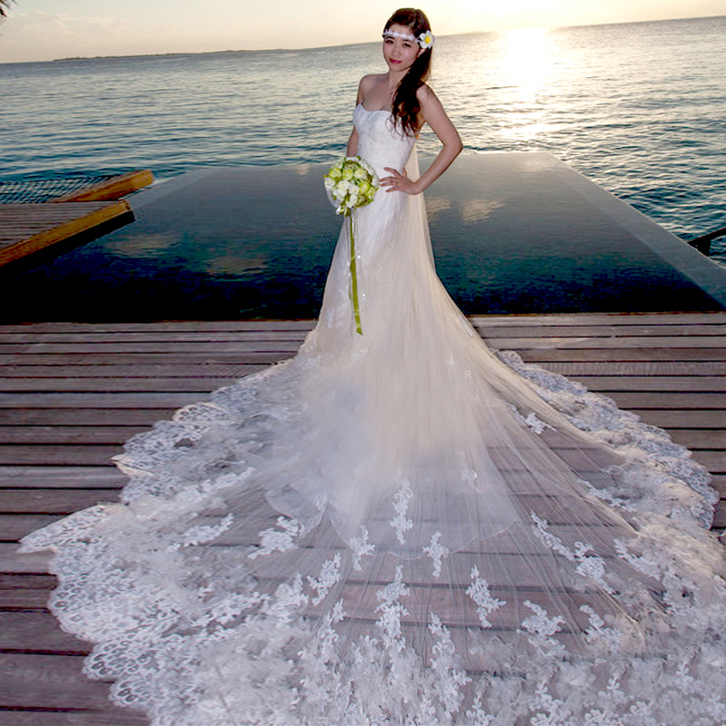 2015 New Style white Long Tulle Strapless Applique Mermaid Trumpet Bridal Gown Wedding Dresses Size 7581 zyy - zkc uncle Store store
