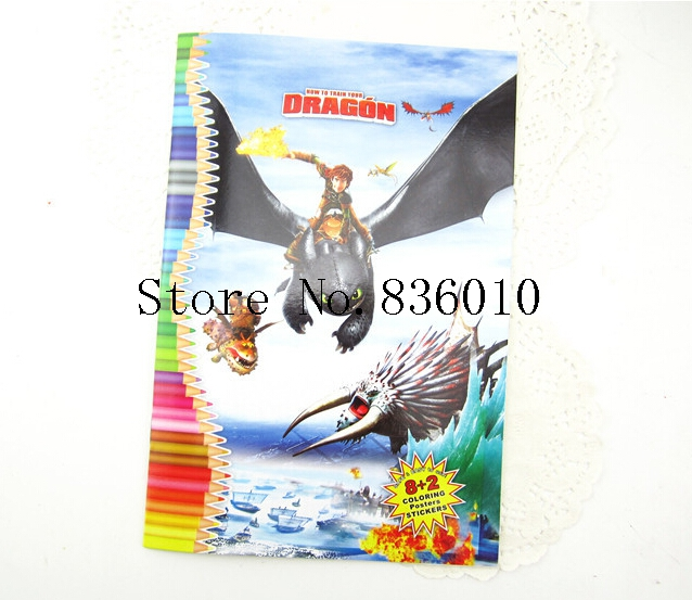 New 10pcs How to Train Your Dragon Stickers Coloring Books-kid Children's Educational Painting Book Gift 1pcs/8 sheets H-19(China (Mainland))