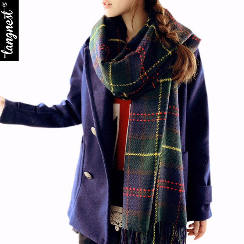 Winter Scarf Shawl Women Men 2016 New Brand Super Long Warm Spring Autumn Scottish Plaid Unisx Tassel Pashmina Scarves PWM074(China (Mainland))