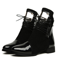 Buy Women Boots Genuine Leather Flat Martin Ankle Boots Womens Motorcycle Boots Autumn Winter Shoes Patent leather Boots size 35-43 for $29.91 in AliExpress store