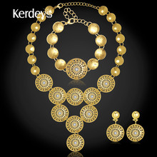 KERDEYS Women 18K Gold Plated Fine Jewelry Sets Charm Crystal Pendant Necklace Earrings Bracelet Ring Sets Holiday Accessories(China (Mainland))