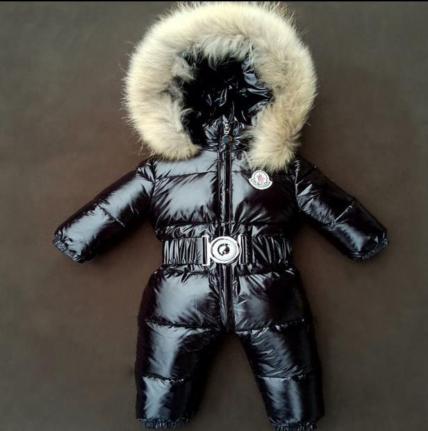 Baby Snowsuit 2016 winter young boys play clothes with Genuine Raccoon Fur Collar hood baby girls snow suits thermal wear(China (Mainland))