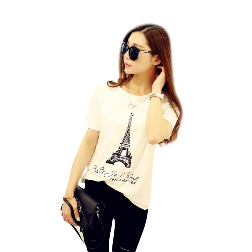 D6li 2016 Brand New Fashion Spring Summer Short Sleeve T Shirt Women Tops Eiffel Tower Printed T-shirt White Cloth My6(China (Mainland))