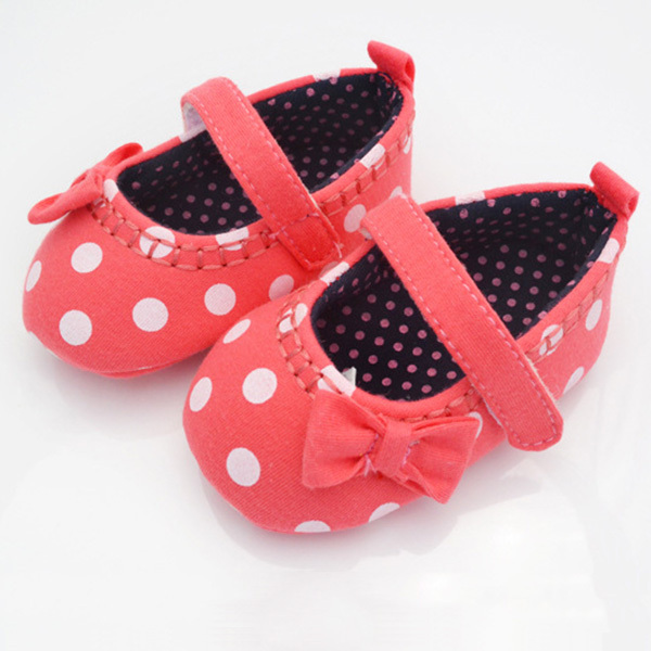 Red Baby Girls Shoes Dot Soft Toddler Infant Cotton Bowknot Shoes Size 4 5 6(China (Mainland))