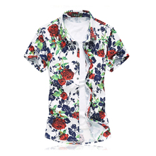 2016 Summer Mens Casual Floral Shirts Short Sleeve Yellow Red Rose Print Mercerized Cotton Male Business Shirts Social Plus Size(China (Mainland))