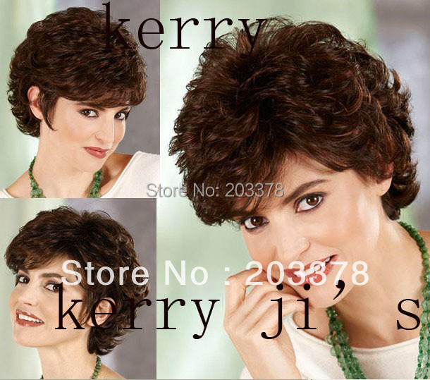 Capless Short High Quality Synthetic Dark Brown curly Hair Wig Free Shipping