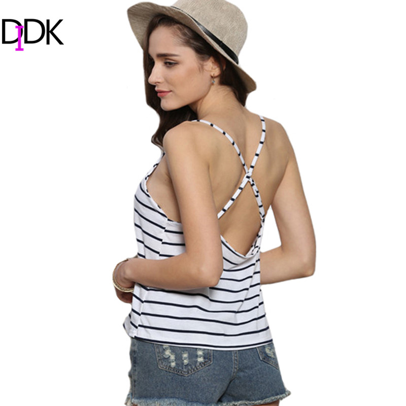 Women 2016 Fashion Tops Summer New Vintage Sexy Black White Spaghetti Strap Crisscross Back Striped V Neck Chiffon Camisole - TOPS FASHIONS store