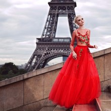 Nude Tulle Champagne Red Evening Dresses Long Sleeve Delicate Floral Embroidery Prom Gowns Long Sleeves Puffy Dress To Party(China (Mainland))