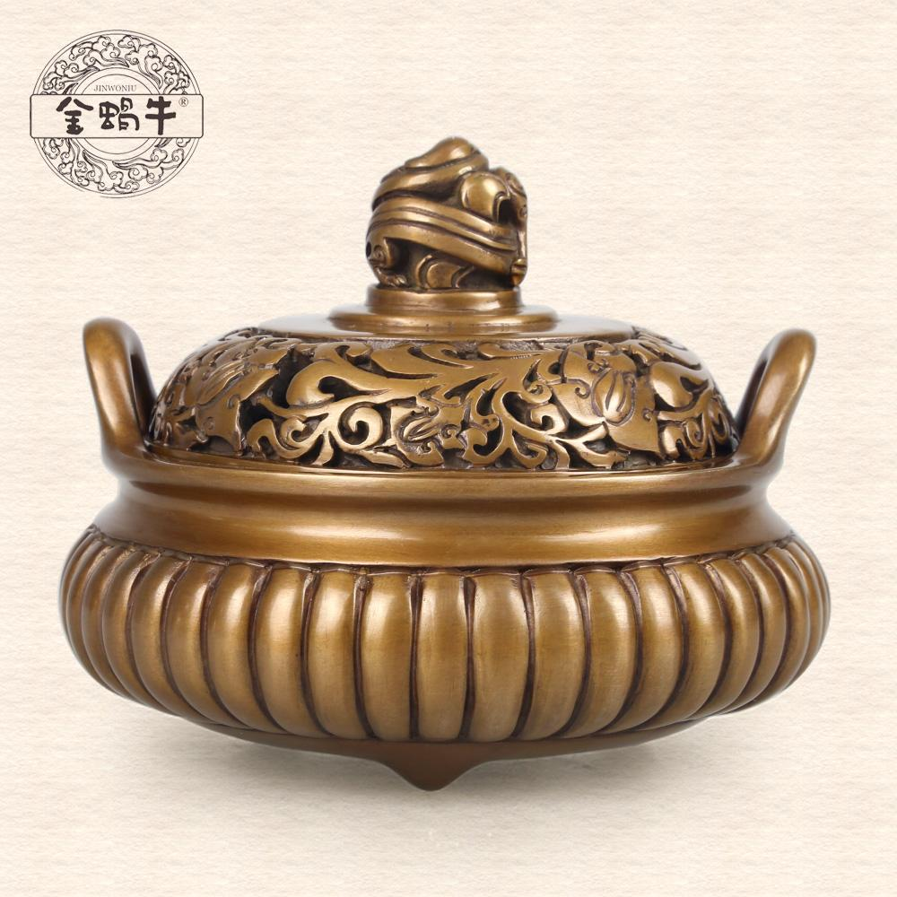 straight grain so NiuLu refined copper manual collection smoked incense burner feed ceremony market shows present(China (Mainland))