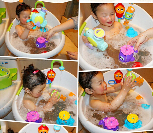 Free Shipping Gift baby bath toys rotary automatic sprinkler small whale swimming toys sassy(China (Mainland))