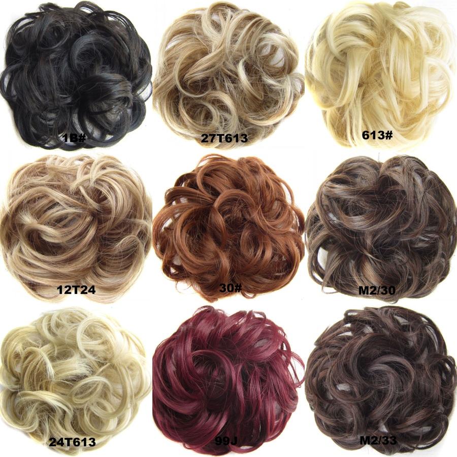 10colors Ladies chignon bun hairpiece curly fake hair bun coleteros synthetic hair scrunchies elastic hair chignon