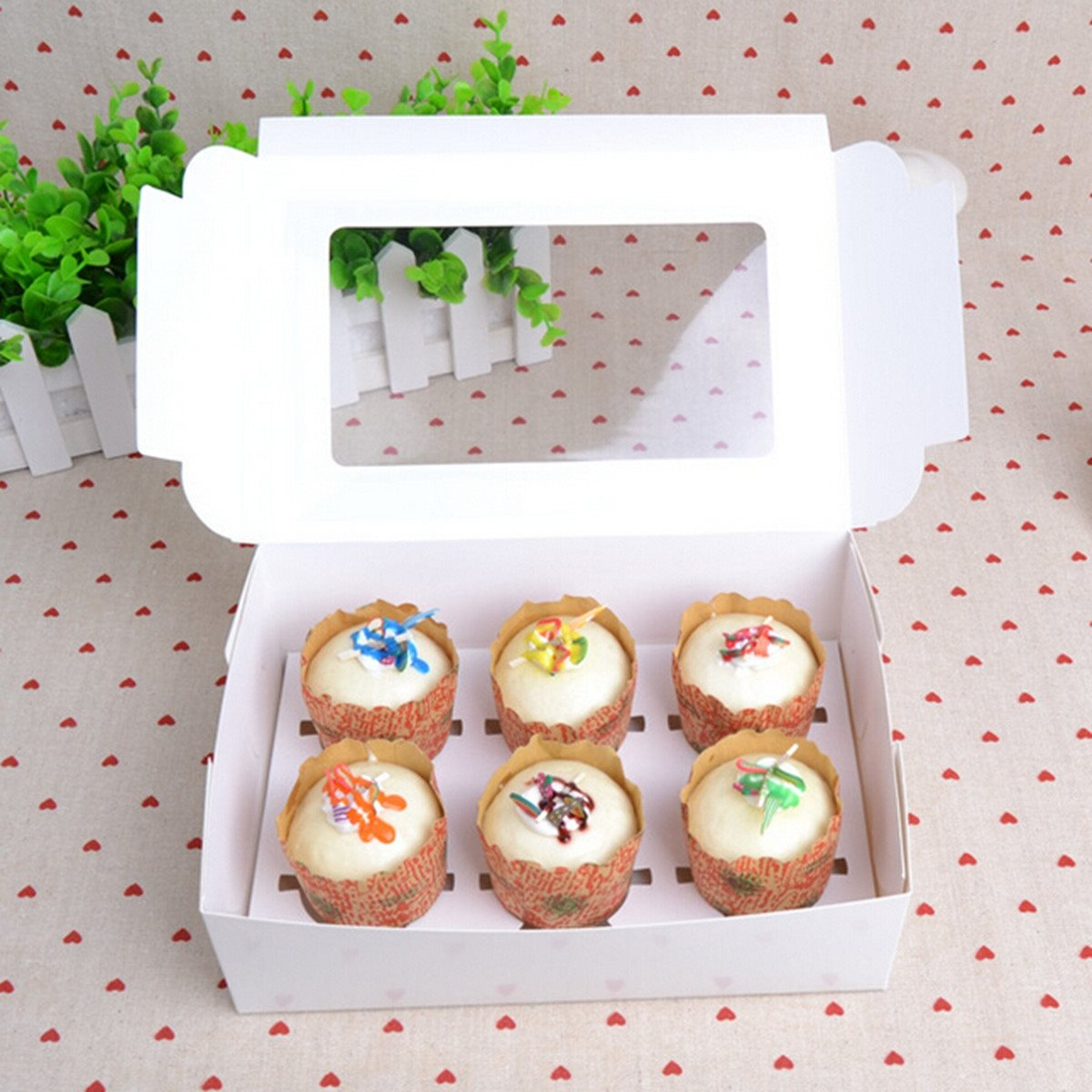 Wedding Cake Boxes For Cupcake Paper Window White Muffin