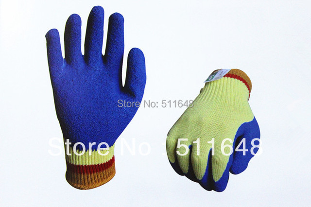Free Shipping NO.0068 Aramid Cut Resistant Safety Gloves with blue latex coating