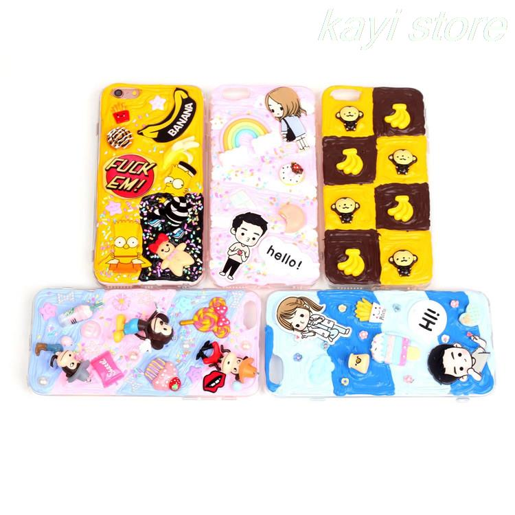 3D Cream Cake Clay Cartoon Case Simpson Banana Monkey Descendants of the sun Soft Silicone cover For iPhone 6 6s Plus 4.7' 5.5'(China (Mainland))