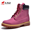 Z suo New Fashion Women Timber Boots White Leather Work Martin Boots Lady Winter Casual Ankle